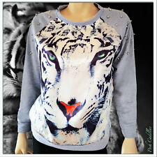 Grey white tiger print long sleeve top with silver metal spikes XS, S, M