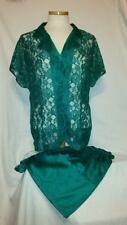 "NWOT Victoria's Secret ""VINTAGE"" Satin & Lace Pajama Set * Emerald Green"