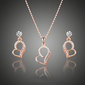 Heart Gold Jewelry Set Rose Gold Plated Chain Necklace Pendant Fashion Earrings