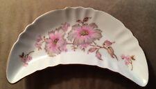 "Vintage Mitterteich Bavaria Crescent Dish 6-1/2"" Long Pink Floral Germany 4257"