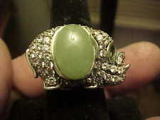 Wonderful Celadon Jade Body Elephant Ring Sterling Silver CZ Garnet Size 7 Only1