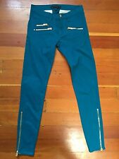 JUICY COUTURE Womens Skinny Jeans In Turquoise Aqua Gold Zippers Sz 25 $198