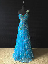 Prom, Pageant, Formal Occasion Tony Bowls Dress- Peacock Blue- Size 2- 112541