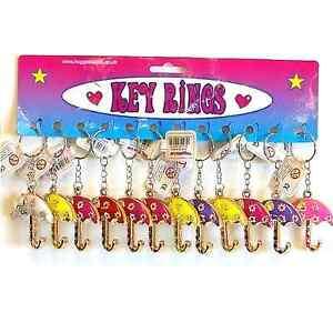 12 Umbrella Keyrings Stainless Steel Car Key Chain fun Novelty Bag Charm Pendant