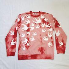 McQ x Alexander McQueen Tonal Swallow Birds Crew Neck Sweatshirt | Red | NEW