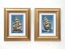 Pair of Paintings Nautical Oil Paintings Framed Sailing Ships Ocean Maritime