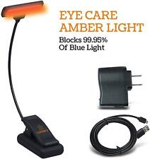 Lumiens Astoria - Amber Book Reading Light Clip On Led Lamp - Protects Your Eye,
