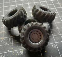 Set of 4 1/24 1/25 3D Print 4x4 Resin Tractor Tires with Black Rhino 4x4 Wheels