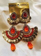 Gold Tone Orange Jhumka K2 Bollywood Gimmiki Indian Designer Pierced Earrings