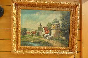 Dipinto a olio cornice barocca metà 800