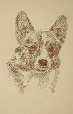 Welsh Corgi Dog Art #58 Stephen Kline will add dogs name free Word Drawing gift