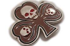 Men Women Silver Metal Belt Buckle Skull Skeleton Head Clover Leaf Mocha Brown