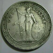 Great Britain UK Trade 1 Dollar 1911 Year Mint Silver Coin Nice Lustre UNC