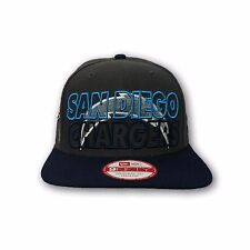 NFL San Diego Chargers Gray and Navy Blue Color, New Era Flat Snap Back Hat