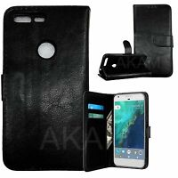 PU Leather Black  Book Wallet Stand Case Cover For Google Pixel With Card Slots