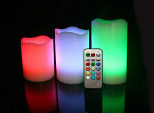 3 x Colour Changing Candle Flameless LED Battery Operated Wedding Lights Remote