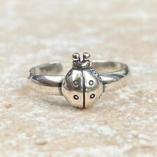 Sterling Silver Antiqued-Finish LadyBug Toe Ring New Adjustable Size Good Luck