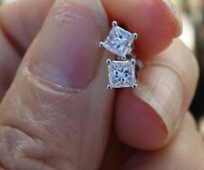 .60ct G/VS2 princess diamond stud earrings 14k white gold with yellow back