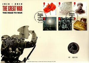 GB 2014 COVER THE GREAT WAR THE ROAD TO WAR WITH £2 COIN