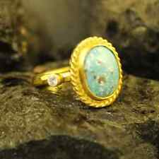 Handmade Hammered Oval Turquoise Ring W Zircon Gold over 925 Sterling Silver