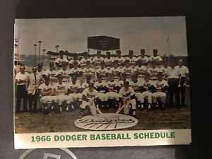 1966 Los Angeles Dodgers Pocket Schedule Security Pacific Bank Team Photo