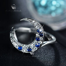 18k white gold gf made with SWAROVSKI crystal clear blue ring moon fairyland