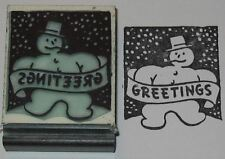 Christmas Snowman with Greetings rubber stamp