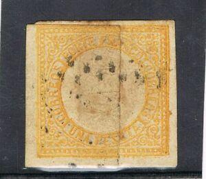 "PERU - 1872 1 Peseta ORANGE USED OVERLAPPING ""FIN DE BOBINA"" VF"