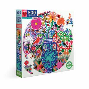 eeBoo 500 Pc Round Puzzle – Birds & Flowers Family Puzzle 04390