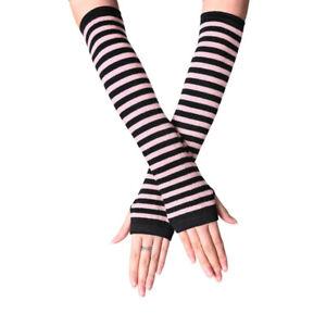 Women Lady Sunscreen Striped Elbow Gloves Warmer Knitted Long Fingerless Glo Yc