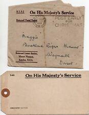 ROYAUME-UNI LOT DE 8 LETTRES ET DOCUMENTS OFFICIELS 1939/1946