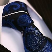 Krawatte Krawatten Schlips Binder de Luxe Tie cravate 135 blau Paisley