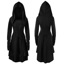 Women Gothic Lace Up Hooded Vintage Pullover High Low Bandage Cloak Long Dresses