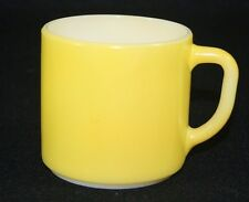 Vintage Federal Yellow Milk glass Coffee Mug Cup Heat Proof D handle