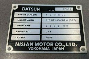 Datsun 180B 180BSSS L18 SR20 chassis plate ID tag SEDAN COUPE P610 KP610