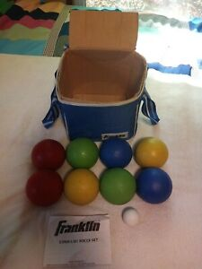 "Vintage Franklin • BOCCE BALL SET w/ Original Bag - (8) 4"" Balls + (1) 1/4"" Jack"