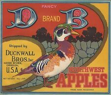 "RARE OLD ORIGINAL 1930'S WOOD DUCK ""D-B DUCKWALL BRAND"" LABEL HOOD RIVER OREGON"