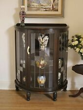 Antique Art Deco Leadlight Oak Half Round Display / China / Crystal Cabinet.
