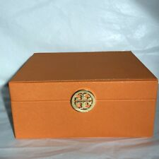 "TORY BURCH Signature Orange Storage Box Large Jewelry Container 9""x8""x4"""
