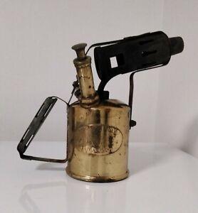 Antique Vintage British Military Paraffin Blow Torch Lamp SH & S Samuel Heath