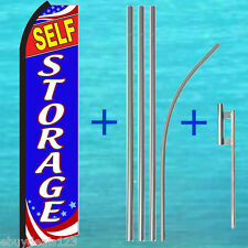 Self Storage Swooper Flag +15' Tall Pole Kit Flutter Feather Banner Sign 25-1937