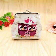 Fashion Women Lady Retro Vintage Owl Leather Small Wallet Hasp Purse Clutch Bag