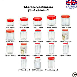 Plastic Storage Jar with Screw Top Lids Herb Spices Food Containers Clear Pots