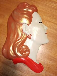 Large Art Deco Style lady face/plaque/mask wall hanging,hand painted