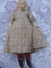 "Antique Papier Mache Blonde Doll Old Body 16"""
