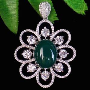 Green Agate Tibetan Silver Pave Crystal Zircon Flower Pendant Bead D19754