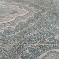 2 King Pillow Shams Cotton Paisley Print in Light Blue, Aqua and White