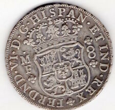 silver 18th century Spanish Mexican 8 reales coin Ferdinand VI 1749 (S3)