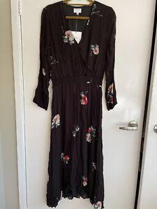 Black Floral Dress By Witchery Sz 14