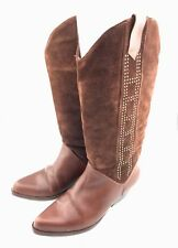 Vintage Pazzo Mid Calf Boots Womens Size 6 Brown Leather Studs Western Cowgirl